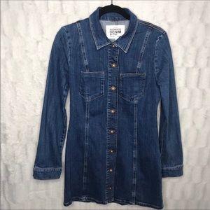 Zara Denim Button Down Long Sleeve Shirt Dress